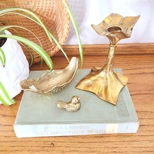 Vintage Brass Candlestick Ring Dish & Little Bird